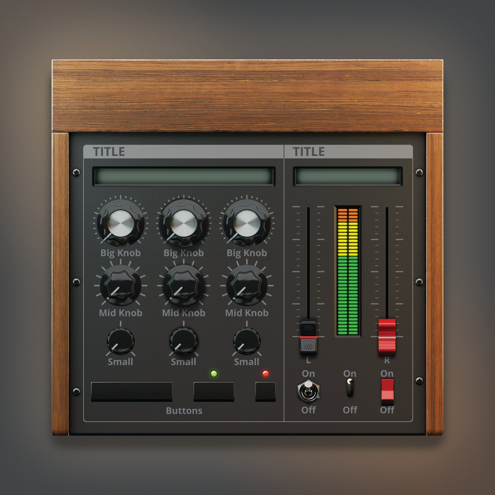 dark wood color version of analogue synth ui lit