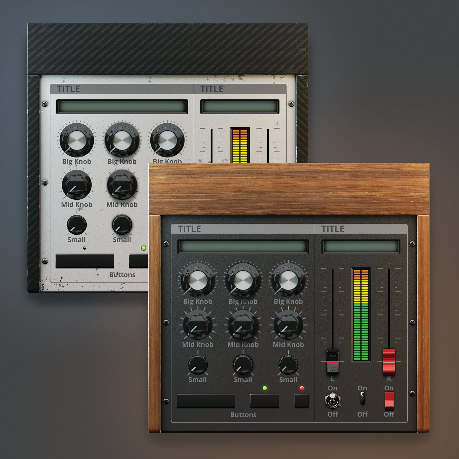 light and dark wood color version of analogue synth ui kit