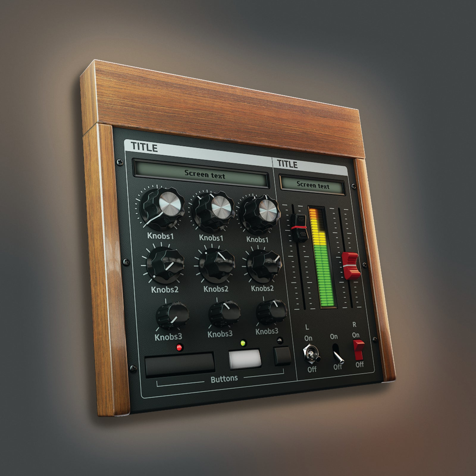 dark wood color version of analogue synth ui lit 3D