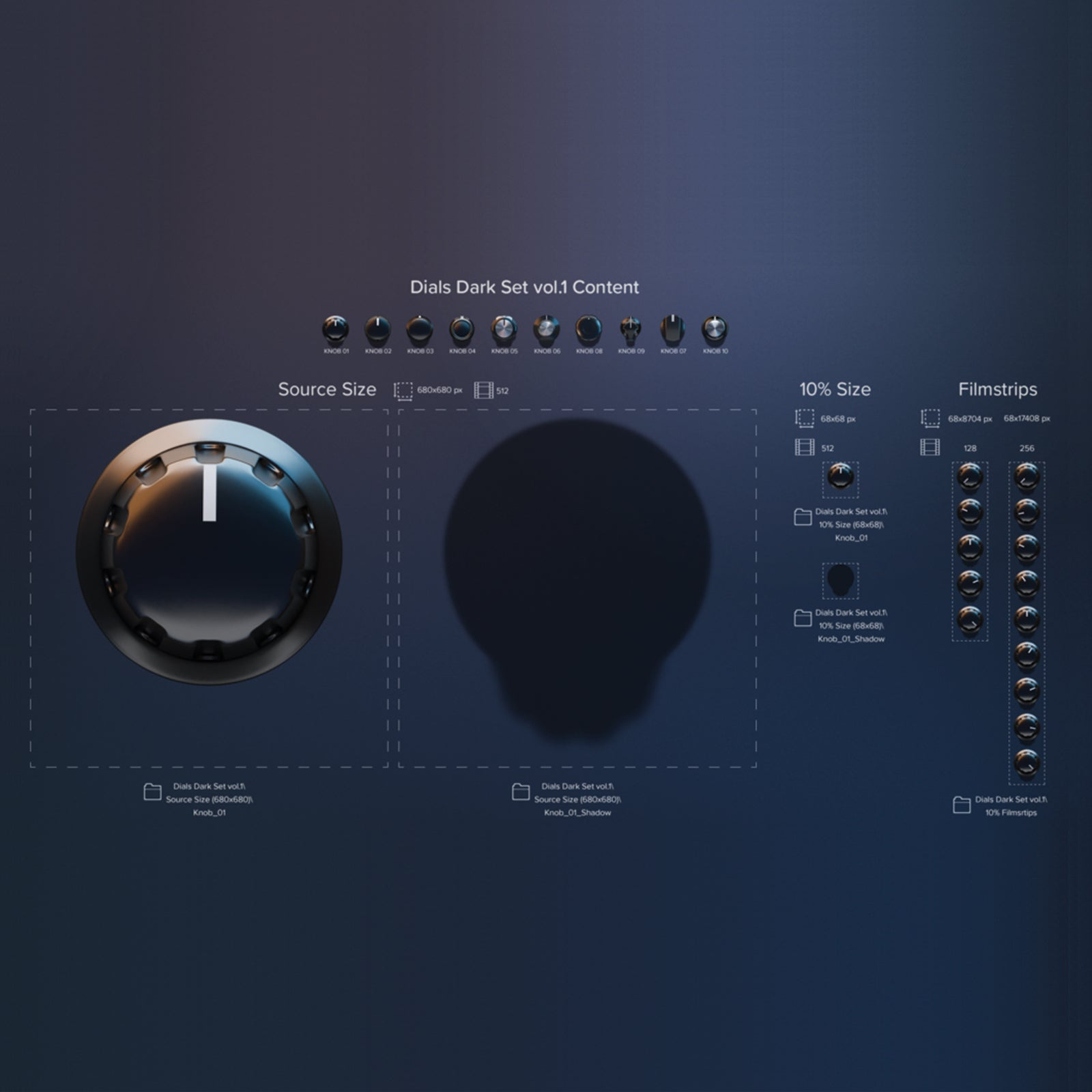 Dark knobs set resolution sample