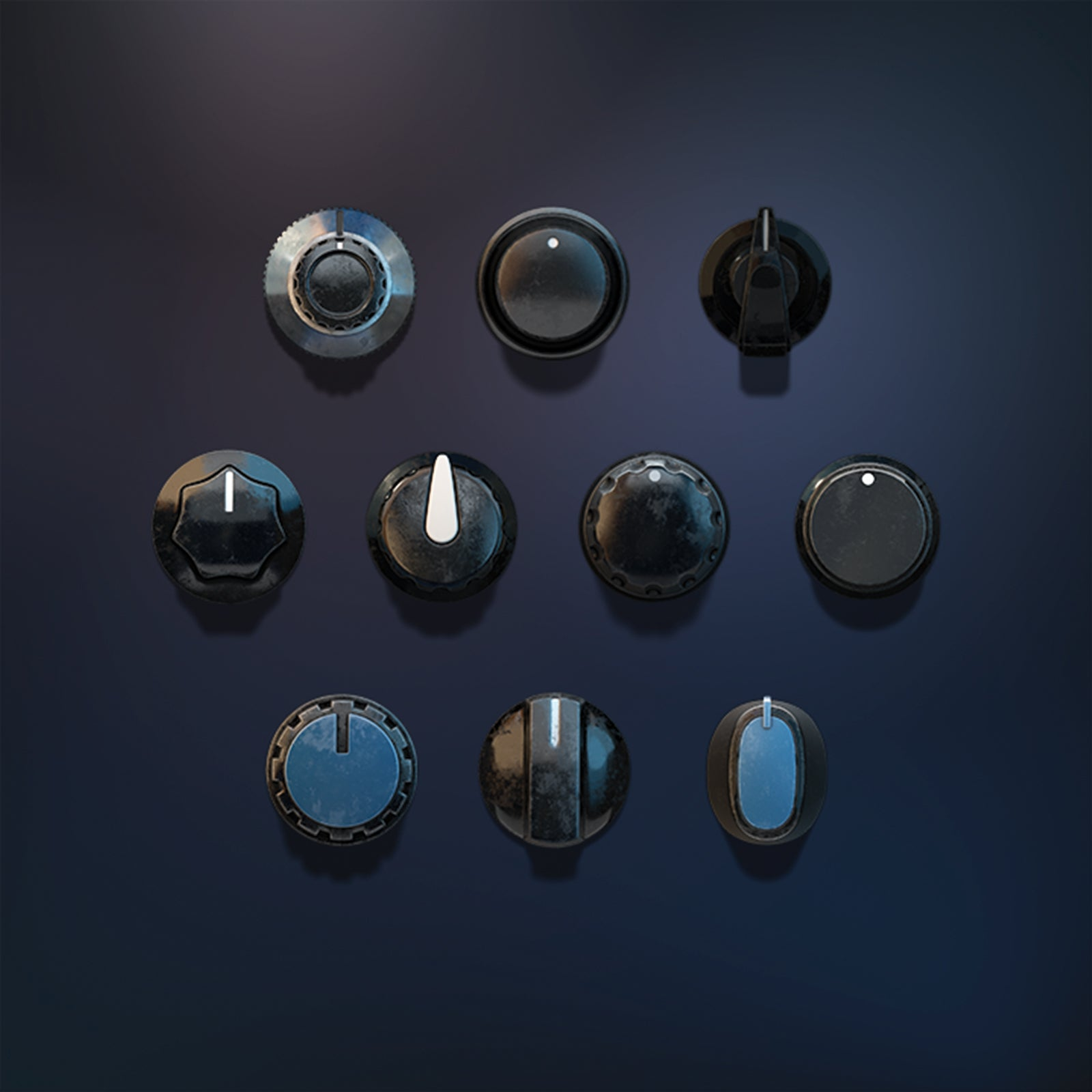 3D vintage knobs audio set
