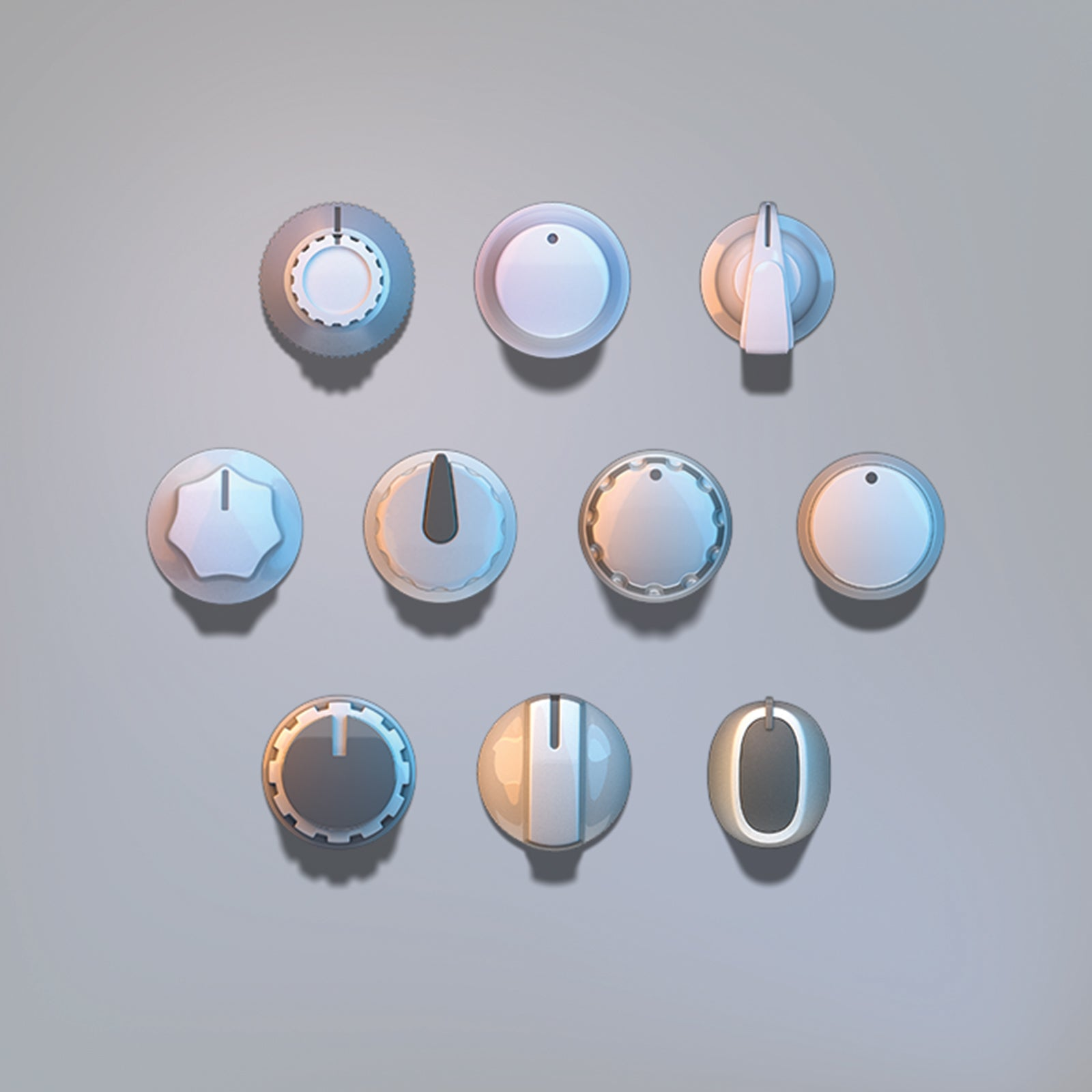 3D light knobs audio set