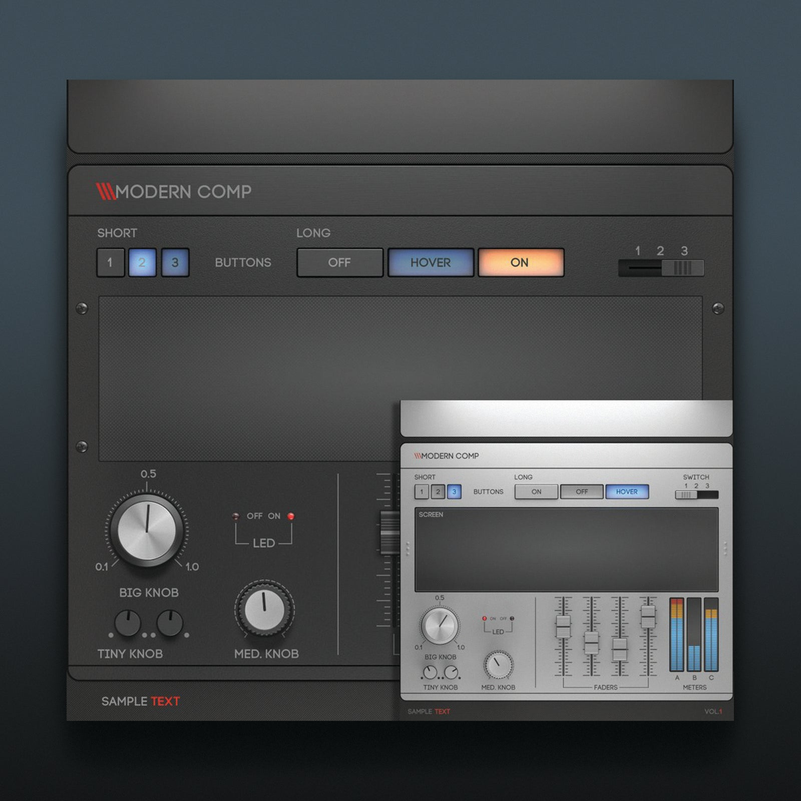 dark and light psd ui templates modern vst compressor