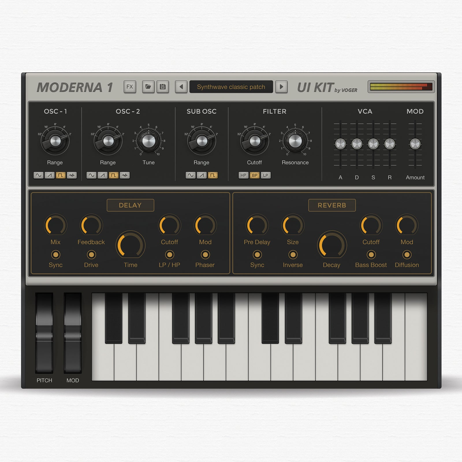 Modern synth kit for audio device