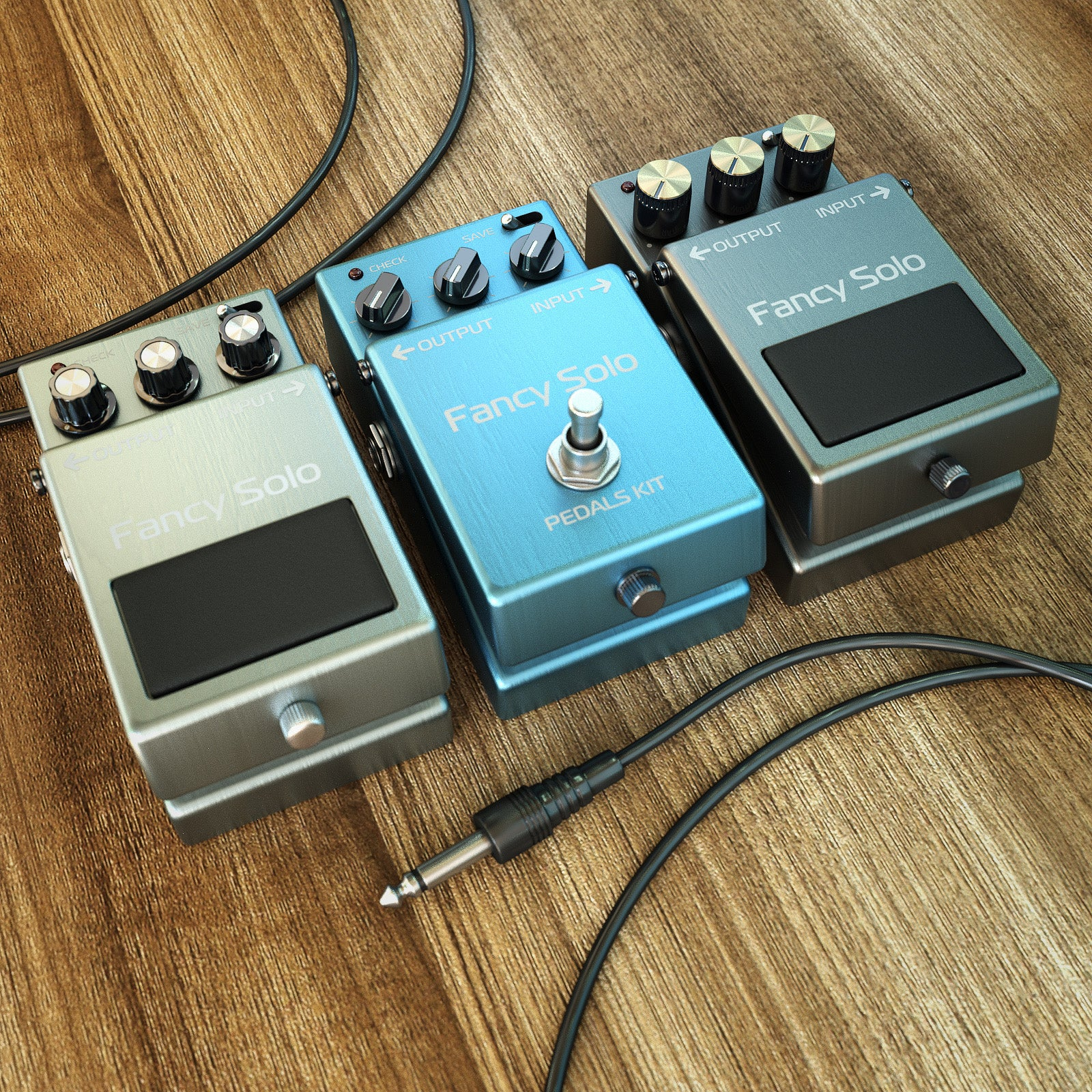 Steel guitar pedals Ui for audio device 3D models