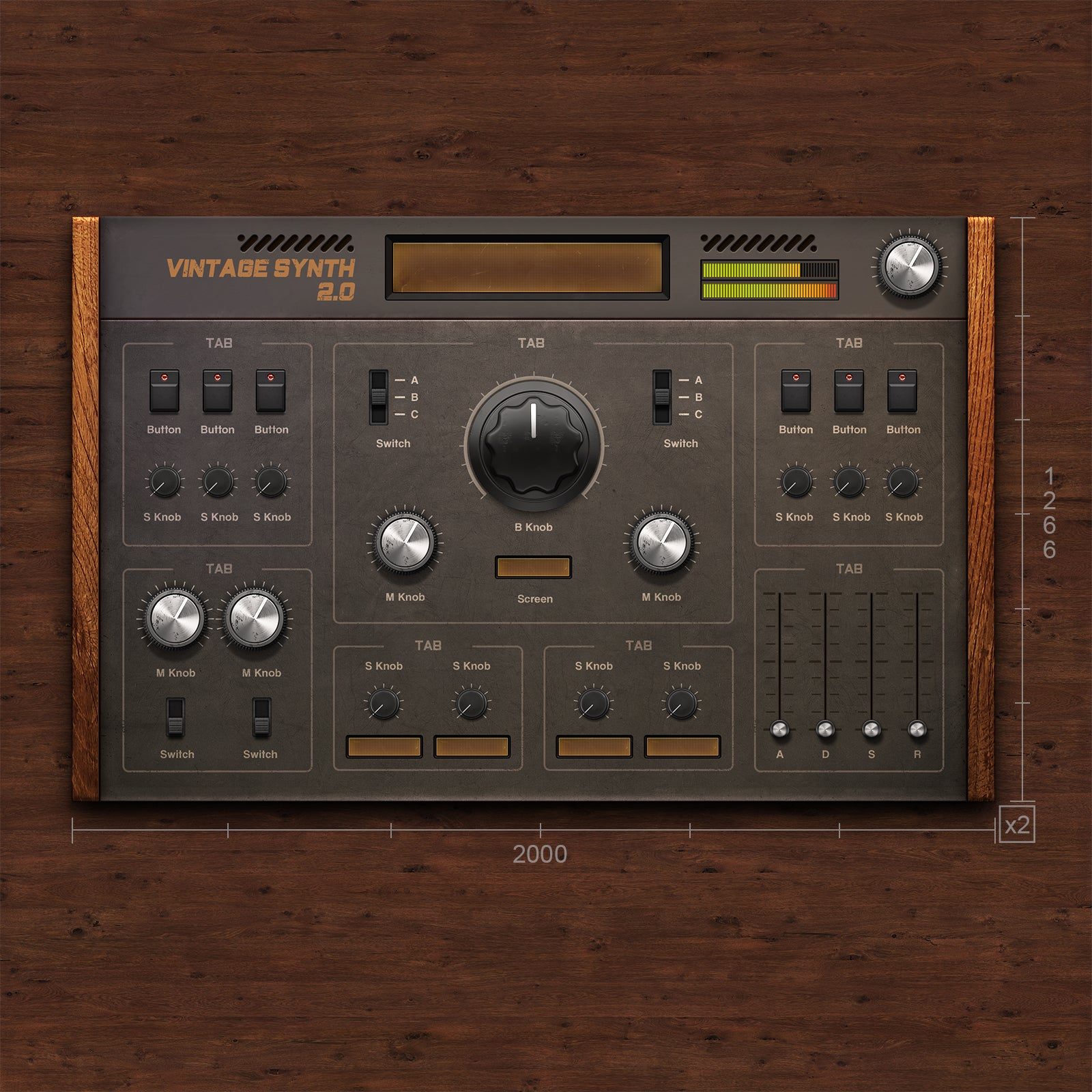 Vintage Synthr template for audio device for VST