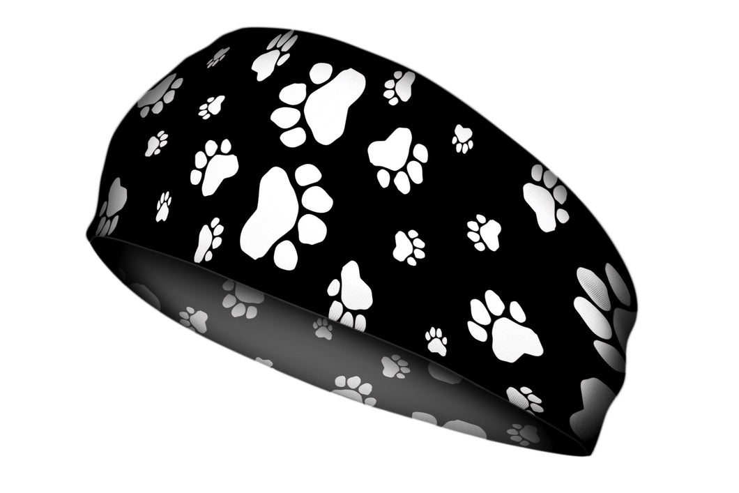 Black and White Paws Stretch Headband