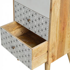 4 drawer chest with geometric pattern. Supplied by Mocha Home