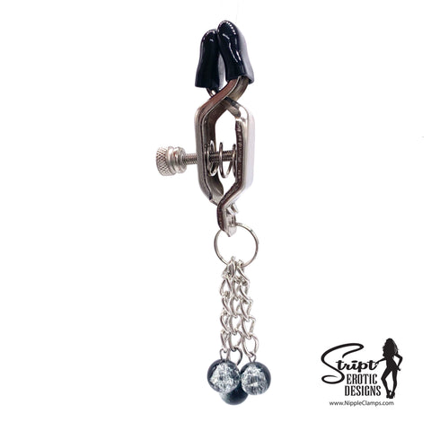 Tassel Nipple Clamps with 12mm Glass Beads in Black & Clear