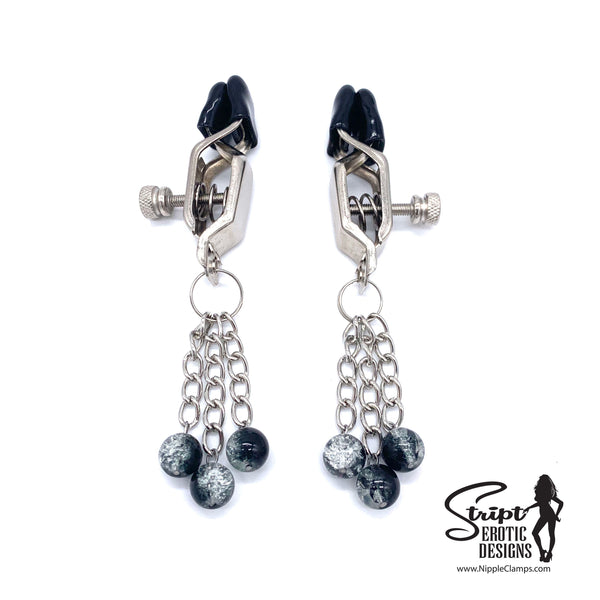 Tassel Nipple Clamps with Glass Beads in Black & Clear