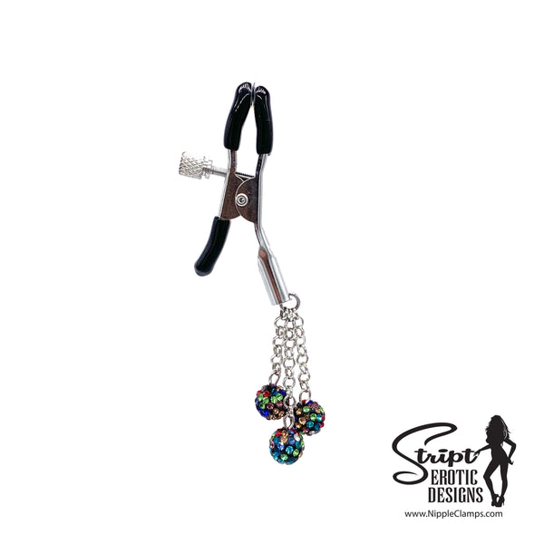 Black Multi-Colored Rhinestone Nipple Clamps