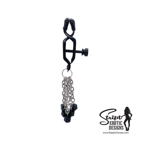 Black Tassel Nipple Clamps with Square Beads