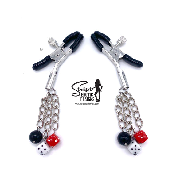 Dice & Black Ball Nipple Clamps