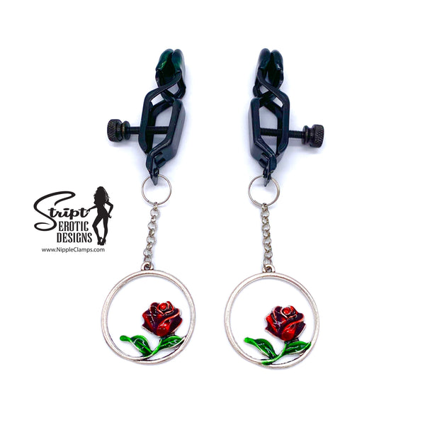 Red Rose Gothic Nipple Clamps