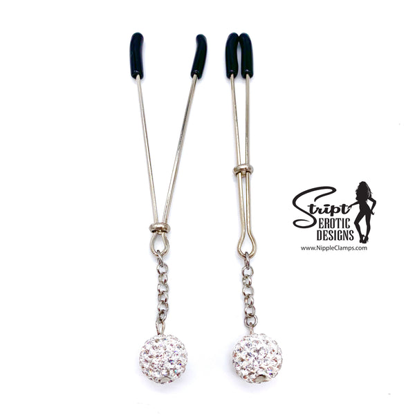 White Rhinestone Spherical Charm Nipple Clamps