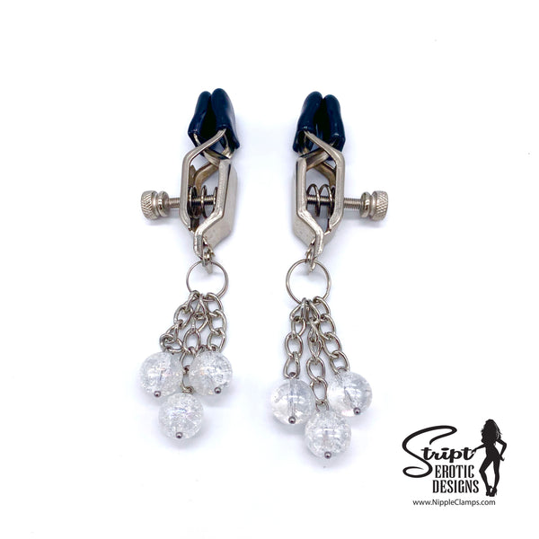 Tassel Nipple Clamps with Clear Glass Crackle Beads