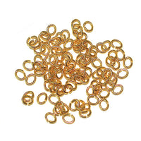 Gold Plate Small Oval Jump Rings / 100 Pack / 2x3mm ID / 20 Gauge / Sawcut / Open / Plated Brass