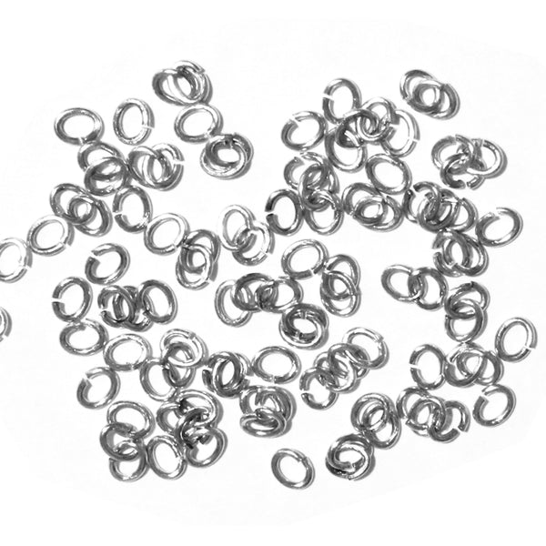 Bright Rhodium Small Oval Jump Rings / 100 Pack / 2x3mm ID / 20 Gauge / Sawcut / Open / Plated Brass