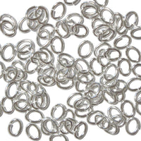 Silver Plated Large Oval Jump Rings / 100 Pack / 3x5mm ID / 17 Gauge / Sawcut / Open / Plated Brass