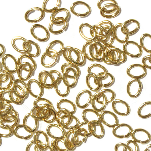 Gold Plate Large Oval Jump Rings / 100 Pack / 3x5mm ID / 17 Gauge / Sawcut / Open / Plated Brass