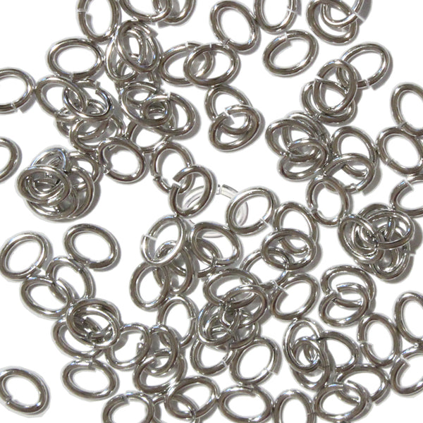 Bright Rhodium Large Oval Jump Rings / 100 Pack / 3x5mm ID / 17 Gauge / Sawcut / Open / Plated Brass