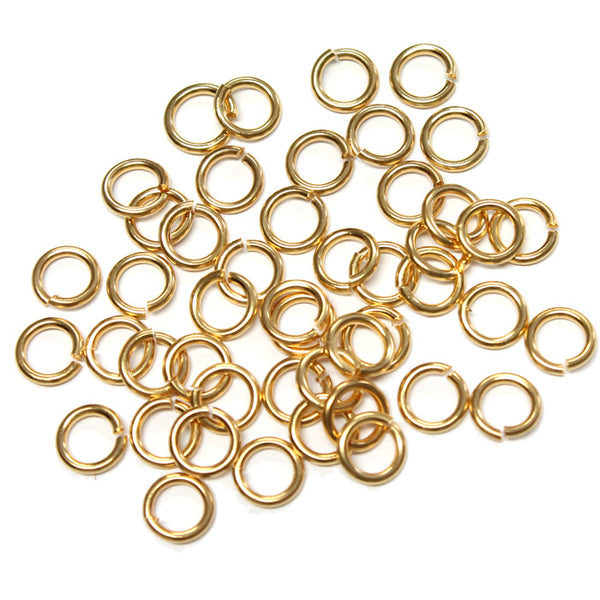 Gold Plate 5mm ID Round Jump Rings / 100 Pack / 16 Gauge / Sawcut / Open / Plated Brass