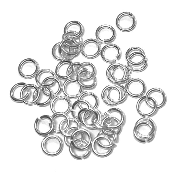 Bright Rhodium 5mm ID Round Jump Rings / 100 Pack / 16 Gauge / Sawcut / Open / Plated Brass