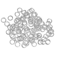 Silver  Plated 4mm ID Round Jump Rings / 100 Pack /  20 Gauge / Sawcut / Open / Plated Brass