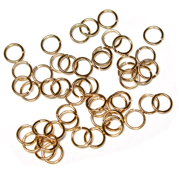 Gold Plate 6mm ID Round Jump Rings / 100 Pack / 19 Gauge / Sawcut / Open / Plated Brass