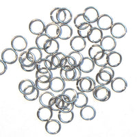 Bright Rhodium 6mm ID Round Jump Rings / 100 Pack / 19 Gauge / Sawcut / Open / Plated Brass