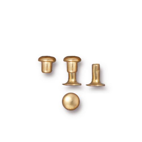TierraCast 4mm Compression Rivets / 10 Pack / brass with a bright gold finish / 01-0060-25