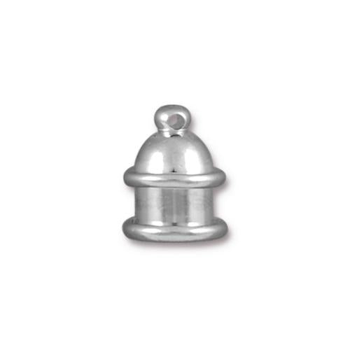TierraCast 6mm Pagoda Cord End / brass with a bright rhodium finish  / 01-0201-61
