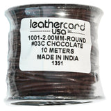 CHOCOLATE 2mm Round Leather Cord / 10m roll / Leathercord USA 03C / necklace bracelet lace cord