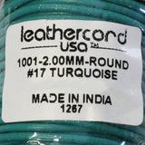 TURQUOISE 2mm Round Leather Cord / 10m roll / Leathercord USA 17 / necklace bracelet lace cord