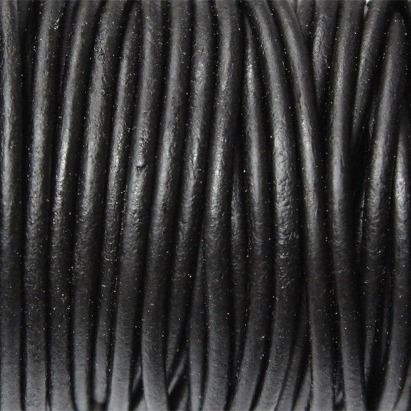NATURAL BLACK 2mm Round Leather Cord / 10m roll / Leathercord USA 402 / necklace bracelet lace cord