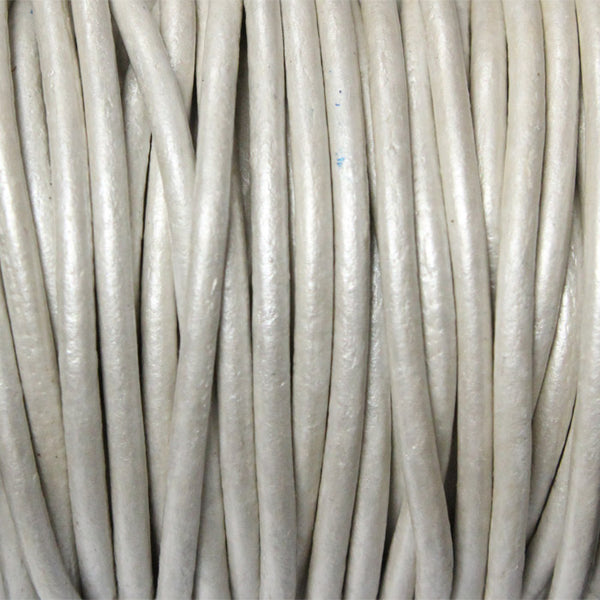 METALLIC PEARL 2mm Round Leather Cord / 10m roll / Leathercord USA 41 / necklace bracelet lace cord