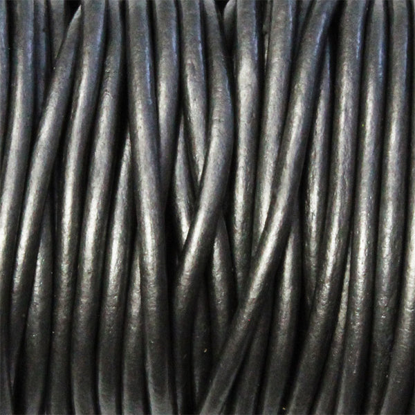 METALLIC GUNMETAL 2mm Round Leather Cord / 10m roll / Leathercord USA 68 / necklace bracelet lace cord