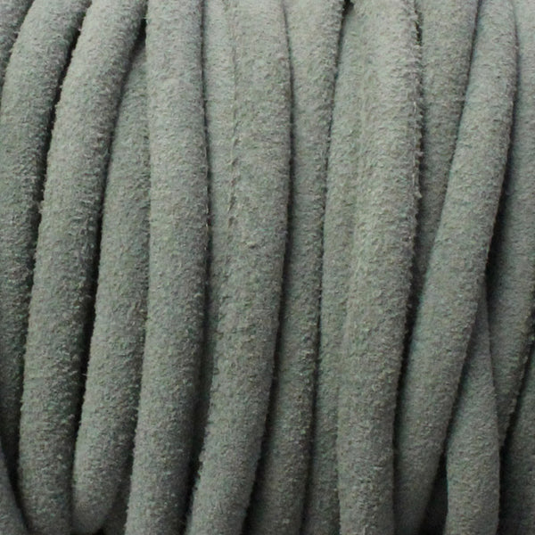 5mm GREY Stitched Suede Round Leather Cord / sold by the meter / Leather Cord USA / 1070-5MM-805