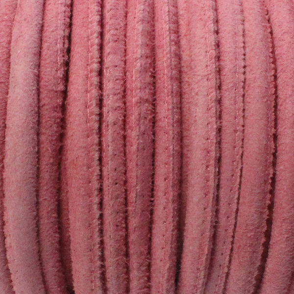 5mm PINK Stitched Suede Round Leather Cord / sold by the meter / Leather Cord USA / 1070-5MM-807