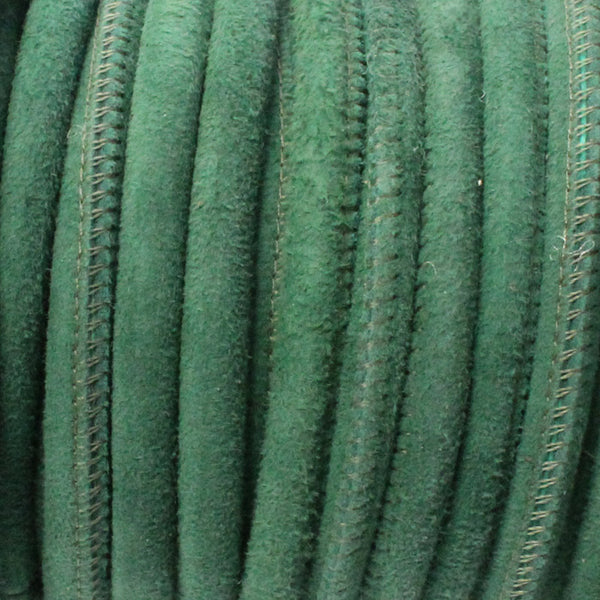 5mm GREEN Stitched Suede Round Leather Cord / sold by the meter / Leather Cord USA / 1070-5MM-809