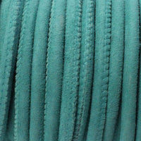 5mm TURQUOISE Stitched Suede Round Leather Cord / sold by the meter / Leather Cord USA / 1070-5MM-822