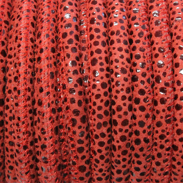 5mm RED PEBBLE Print Stitched Suede Round Leather Cord / sold by the meter / Leather Cord USA / 1071-5MM-804P