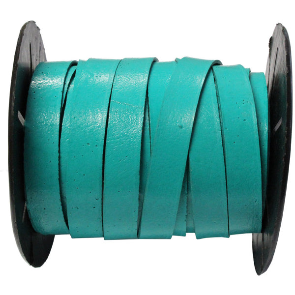 10mm Turquoise Leather Strap / sold by the meter / Leathercord USA / 10 mm wide x 1.5mm thick