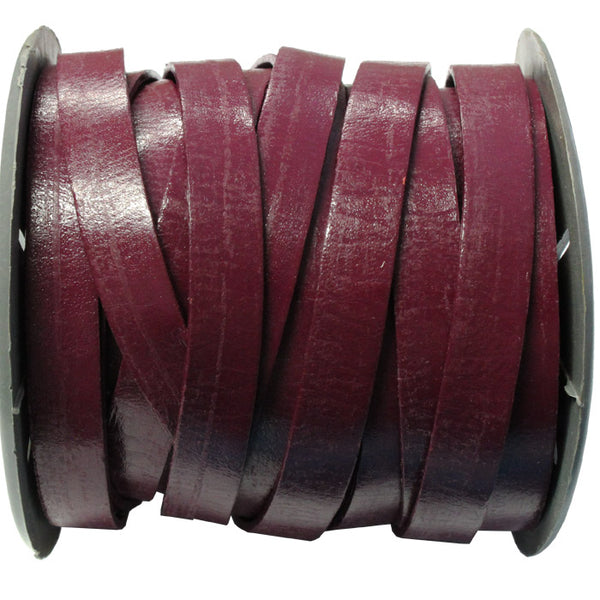10mm Cyclamen Flat Leather Strap / sold by the meter / Leathercord USA / 10 mm wide x 1.5mm thick