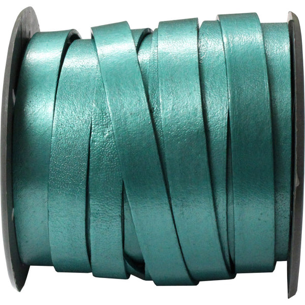10mm Truly Teal Leather Strap / sold by the meter / Leathercord USA / 10 mm wide x 1.5mm thick