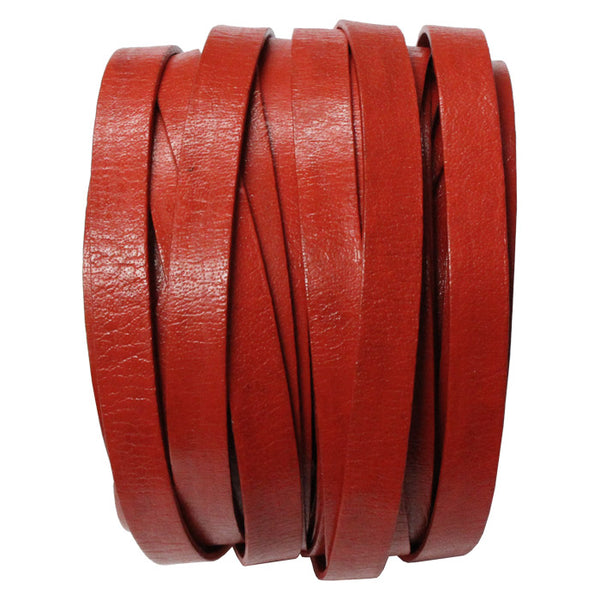 10mm Red Leather Strap / sold by the meter / Leathercord USA / 10 mm wide x 1.5mm thick