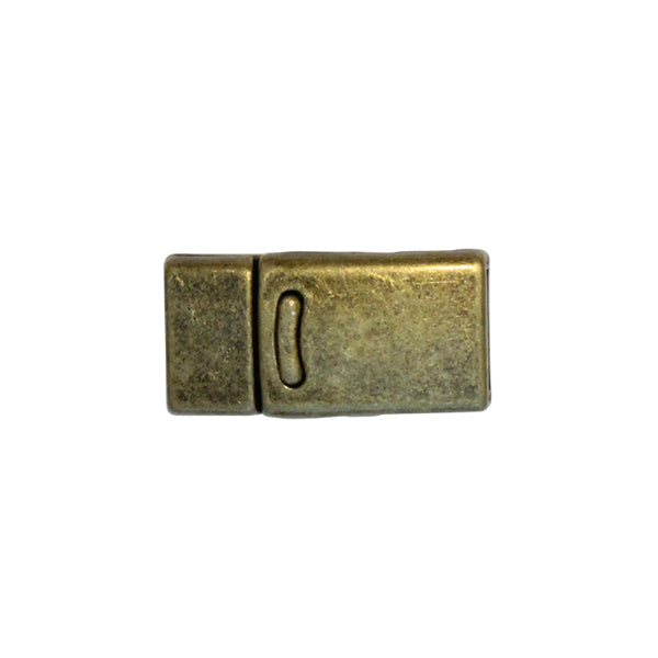 10mm Flat Magnetic Clasp With Tab / zinc alloy with antique bronze finish / ID 10 x 2mm /  clasp for 10mm flat leather cord