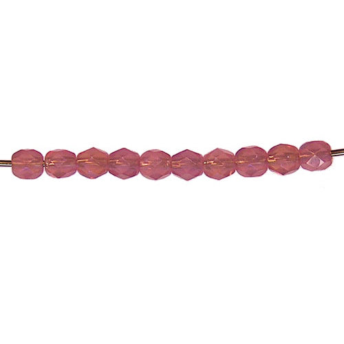 Pink Alabaster Iris Faceted Round Fire Polished Beads