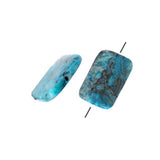 Blue Crazy Lace Agate Rectangle Bead / 40mm(L) x 30mm(W) x 6mm(Thk) / smooth polished dyed natural stone focal bead