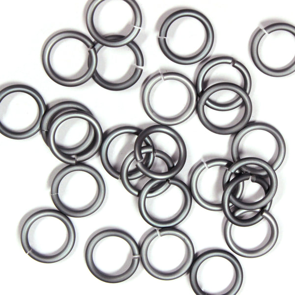 MATTE BLACK ICE / 10mm 12 GA Jump Rings / 25 Pack / sawcut round open anodized aluminum